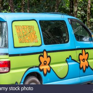 Car looks like the Mystery Machine Van from Scooby Doo