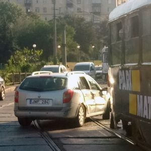 This car has made an accident with a tram in Kharkov Ukraine.