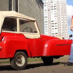 UYO 244 plate is on a red 1957 Bond Minicar Mk D three wheeler, somewhere in Russia, featu